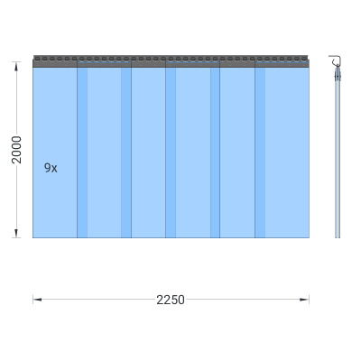 PVC-Streifenvorhang, Lamellen 300 x 3 mm transparent, Höhe 2,00 m, Breite 2,25 m (1,90 m), verzinkt