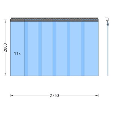 PVC-Streifenvorhang, Lamellen 300 x 3 mm transparent, Höhe 2,00 m, Breite 2,75 m (2,30 m), verzinkt