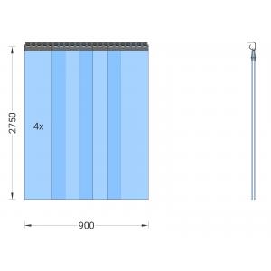 PVC-Streifenvorhang, Lamellen 300 x 3 mm transparent, Höhe 2,75 m, Breite 1,00 m (0,90 m), verzinkt