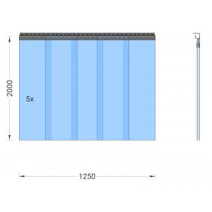PVC-Streifenvorhang, Lamellen 300 x 3 mm transparent, Höhe 2,00 m, Breite 1,25 m (1,10 m), Edelstahl