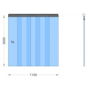 PVC-Streifenvorhang, Lamellen 300 x 3 mm transparent, Höhe 3,00 m, Breite 1,25 m (1,10 m), verzinkt