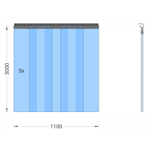 PVC-Streifenvorhang, Lamellen 300 x 3 mm transparent, Höhe 3,00 m, Breite 1,25 m (1,10 m), Edelstahl