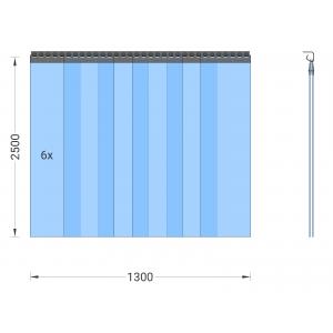 PVC-Streifenvorhang, Lamellen 300 x 3 mm transparent, Höhe 2,50 m, Breite 1,50 m (1,30 m), Edelstahl
