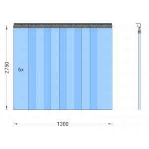 PVC-Streifenvorhang, Lamellen 300 x 3 mm transparent, Höhe 2,75 m, Breite 1,50 m (1,30 m), Edelstahl