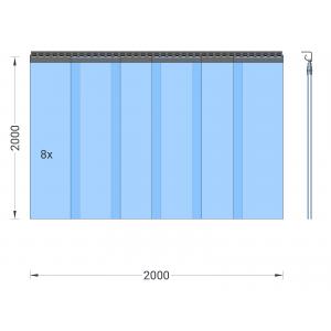 PVC-Streifenvorhang, Lamellen 300 x 3 mm transparent, Höhe 2,00 m, Breite 2,00 m (1,70 m), Edelstahl