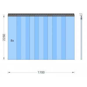 PVC-Streifenvorhang, Lamellen 300 x 3 mm transparent, Höhe 2,25 m, Breite 2,00 m (1,70 m), Edelstahl