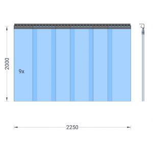 PVC-Streifenvorhang, Lamellen 300 x 3 mm transparent, Höhe 2,00 m, Breite 2,25 m (1,90 m), Edelstahl
