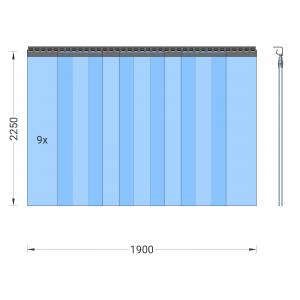 PVC-Streifenvorhang, Lamellen 300 x 3 mm transparent, Höhe 2,25 m, Breite 2,25 m (1,90 m), Edelstahl
