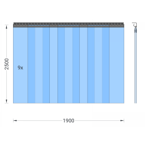 PVC-Streifenvorhang, Lamellen 300 x 3 mm transparent, Höhe 2,50 m, Breite 2,25 m (1,90 m), verzinkt
