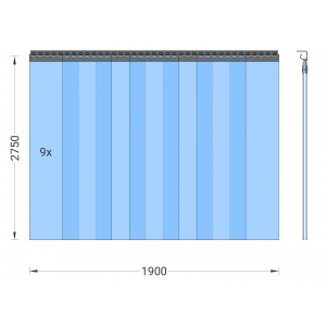 PVC-Streifenvorhang, Lamellen 300 x 3 mm transparent, Höhe 2,75 m, Breite 2,25 m (1,90 m), Edelstahl