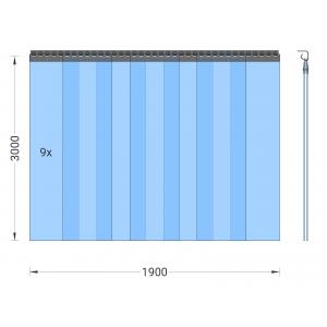 PVC-Streifenvorhang, Lamellen 300 x 3 mm transparent, Höhe 3,00 m, Breite 2,25 m (1,90 m), Edelstahl