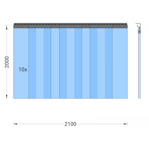 PVC-Streifenvorhang, Lamellen 300 x 3 mm transparent, Höhe 2,00 m, Breite 2,50 m (2,10 m), Edelstahl
