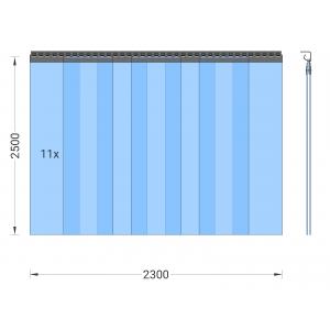 PVC-Streifenvorhang, Lamellen 300 x 3 mm transparent, Höhe 2,50 m, Breite 2,75 m (2,30 m), verzinkt