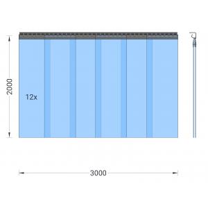 PVC-Streifenvorhang, Lamellen 300 x 3 mm transparent, Höhe 2,00 m, Breite 3,00 m (2,50 m), Edelstahl