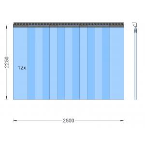 PVC-Streifenvorhang, Lamellen 300 x 3 mm transparent, Höhe 2,25 m, Breite 3,00 m (2,50 m), Edelstahl