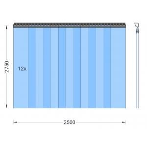 PVC-Streifenvorhang, Lamellen 300 x 3 mm transparent, Höhe 2,75 m, Breite 3,00 m (2,50 m), Edelstahl
