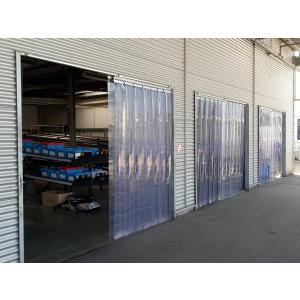 PVC-Streifenvorhang, Lamellen 300 x 3 mm transparent, Höhe 3,00 m, Breite 1,50 m (1,30 m), Edelstahl