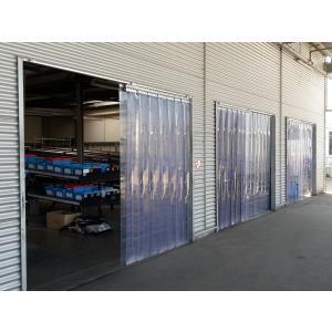 PVC-Streifenvorhang, Lamellen 300 x 3 mm transparent, Höhe 3,00 m, Breite 2,75 m (2,30 m), Edelstahl