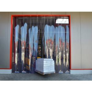 PVC-Streifenvorhang, Lamellen 300 x 3 mm transparent, Höhe 2,25 m, Breite 1,50 m (1,30 m), verzinkt
